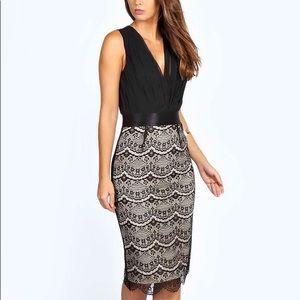 Boohoo black and lace dress